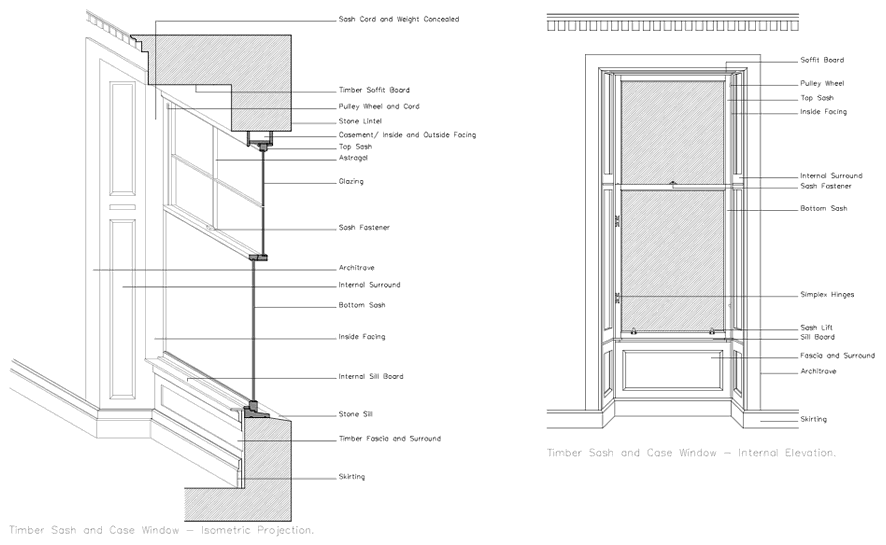Sash and case window drawing